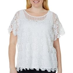 Hearts of Palm Plus Always Blooming Floral Lace Top