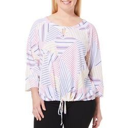 Hearts of Palm Plus Geometric Stripe Drawstring Hem Top