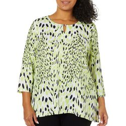 Hearts of Palm Plus Drop Me A Lime Bead Neck Keyhole Top
