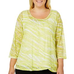 Hearts of Palm Plus Drop Me A Lime Burnout Striped Top
