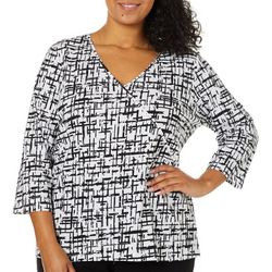Hearts of Palm Plus Drop Me A Lime Checkered Faux-Wrap Top