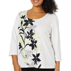 Hearts of Palm Plus Drop Me A Lime Jeweled Floral Top