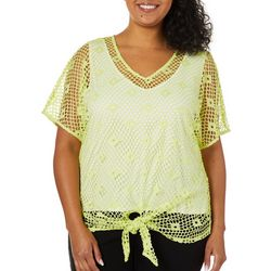 Hearts of Palm Plus Drop Me a Lime Tie Front Overlay Top