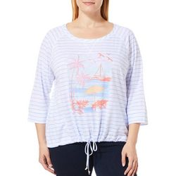Hearts of Palm Plus Sun In Sight Tropical Striped Top