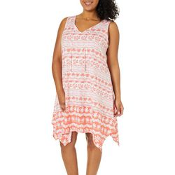 Hearts of Palm Plus Sun In Sight Geo Print Tie Neck Dress