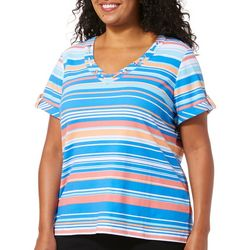 Hearts of Palm Plus Azure Thing Striped V-Neck Top