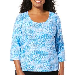 Hearts of Palm Plus Azure Thing Scattered Leopard Top