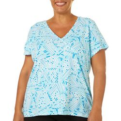 Hearts of Palm Plus Printed Essentials Geo Surplice Top