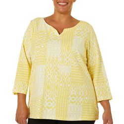 Hearts of Palm Plus Ikat Print Split Neck Top