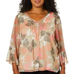 Hearts of Palm Plus Off Tropic Palm Print Bell Sleeve Top