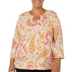 Hearts of Palm Plus Printed Essentials Jardin Paisely Top