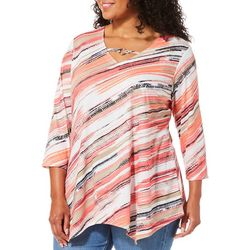 Hearts of Palm Plus Off Tropic Diagonal Stripe Top