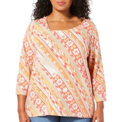 Hearts of Palm Plus Printed Essentials Coral Haze Top