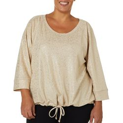Hearts of Palm Plus Rue De La Ruby Foil Pull Over Top