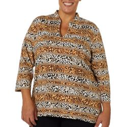 Hearts of Palm Plus Must Haves Stripe Animal Print Top