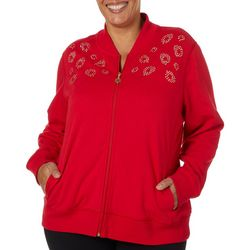 Hearts of Palm Plus Rue De La Ruby Embellished Zip Up