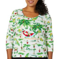 Hearts of Palm Plus Santa Beach Scene Top