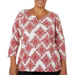 Hearts of Palm Plus Must Haves Medallion Tile Print Top
