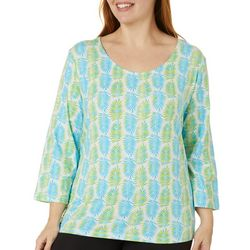 Hearts of Palm Plus Printed Essentials Ombre Fern Top