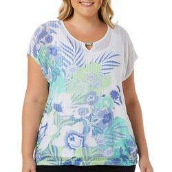 Hearts of Palm Plus Tropical Print Ring Neck Top