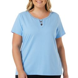 Hearts of Palm Plus Embellished Crisscross Neck Top