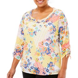 Hearts of Palm Plus Bright Ideas Ruched Burnout Top