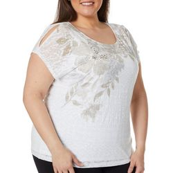 Hearts of Palm Plus Stay Neutral Embellished Burnout Top
