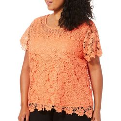 Hearts of Palm Plus Off Tropic Floral Lace Top