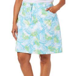 Hearts of Palm Plus Spring Bling Tropical Leaf Print Skort