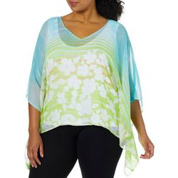 Hearts of Palm Plus Spring Bling Floral Striped Poncho Top