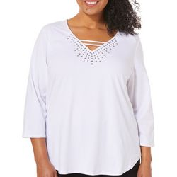 Hearts of Palm Plus Spring Bling Caged Jewel Neck Top