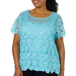 Hearts of Palm Plus Spring Bling Floral Lace Top
