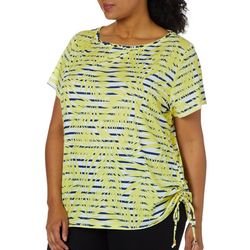 Hearts of Palm Plus Seas The Day Stripe Palm Print Top