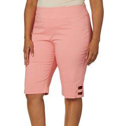 Hearts of Palm Plus Blush Strokes Ladder Hem Skimmer Shorts
