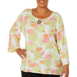 Hearts of Palm Plus Blush Strokes Palm Leaf Tie Neck Top