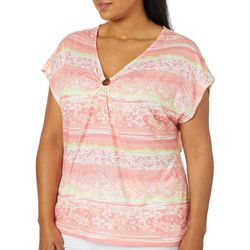 Hearts of Palm Plus Blush Strokes Floral Ring Neck Top