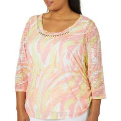 Hearts of Palm Plus Blush Strokes Ruched Burnout Top