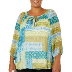 Hearts of Palm Plus Global Soul Patchwork Top