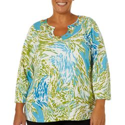 Hearts of Palm Plus Global Soul Mixed Animal Print Top