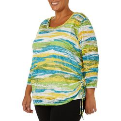 Hearts of Palm Plus Global Soul Striped Ruched Top