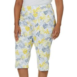 Hearts of Palm Plus Tropical Garden Pull-On Capris