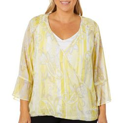 Hearts of Palm Plus Sunny Side Up Paisley Faux-Wrap Top