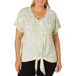 Hearts of Palm Plus Sunny Side Up Floral Tie Front Top