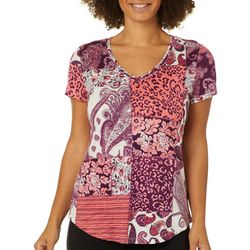 Dept 222 Petite Mixed Patchwork Print V-Neck T-Shirt