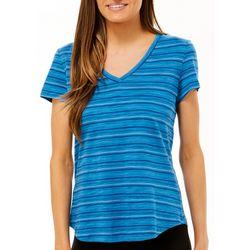 Dept 222 Petite Geo Stripe Print V-Neck T-Shirt