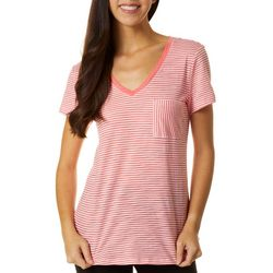 Dept 222 Petite Striped Print Chest Pocket V-Neck T-Shirt