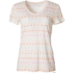 Dept 222 Petite Tribal Stripe Print V-Neck T-Shirt