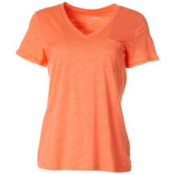 Dept 222 Petite Luxey V-Neck Chest Pocket T-Shirt