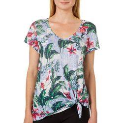 Dept 222 Petite Tropical Hibiscus Print Side Tie Top
