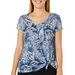Dept 222 Petite Tropical Leaf Print Side Tie Top